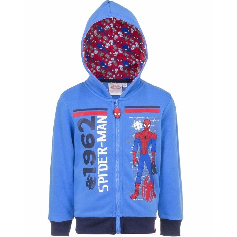 Spiderman sweater met rits blauw