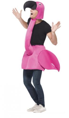 Step in flamingo kostuum voor volwassenen. roze pluche flamingo pak om in te stappen. met lange net en ...