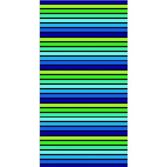 Strandlaken/badlaken gestreept blauw/groen Puka 90 x 170 cm