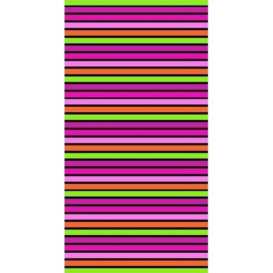 Strandlaken/badlaken gestreept roze/groen Paloma 90 x 170 cm