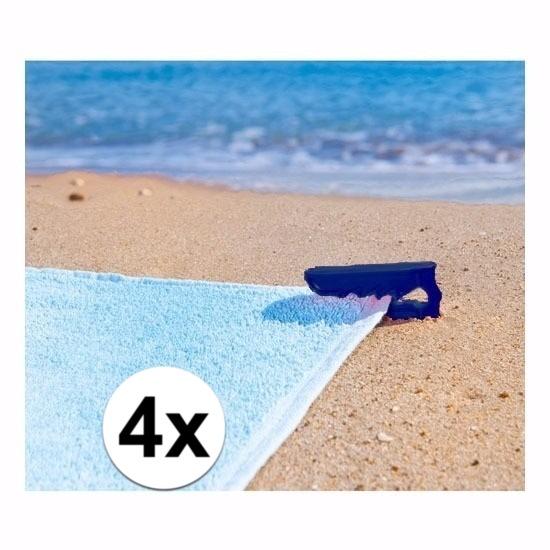 Strandlaken klemmen blauw 4 stuks