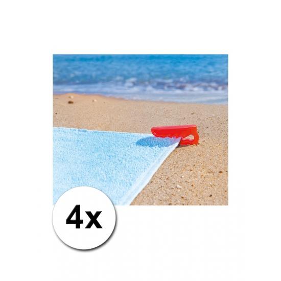Strandlaken klemmen rood 4 stuks