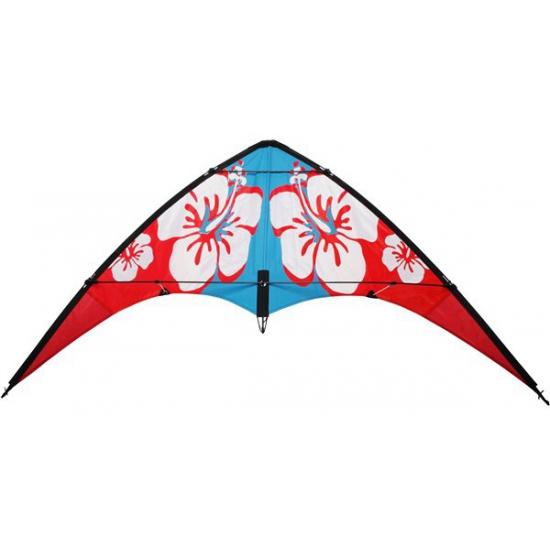 Stuntvlieger rood met hibiscus 140 x 60 cm