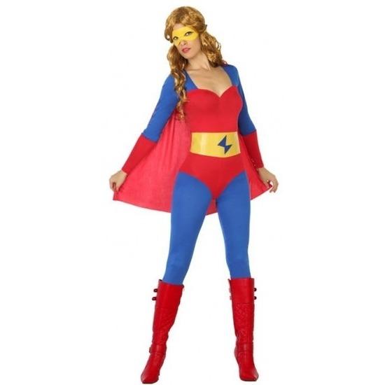 Superheld verkleed pak/kostuum blauw/rood voor dames