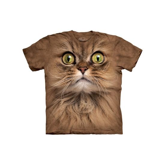 T-shirt bruine kat met groene ogen