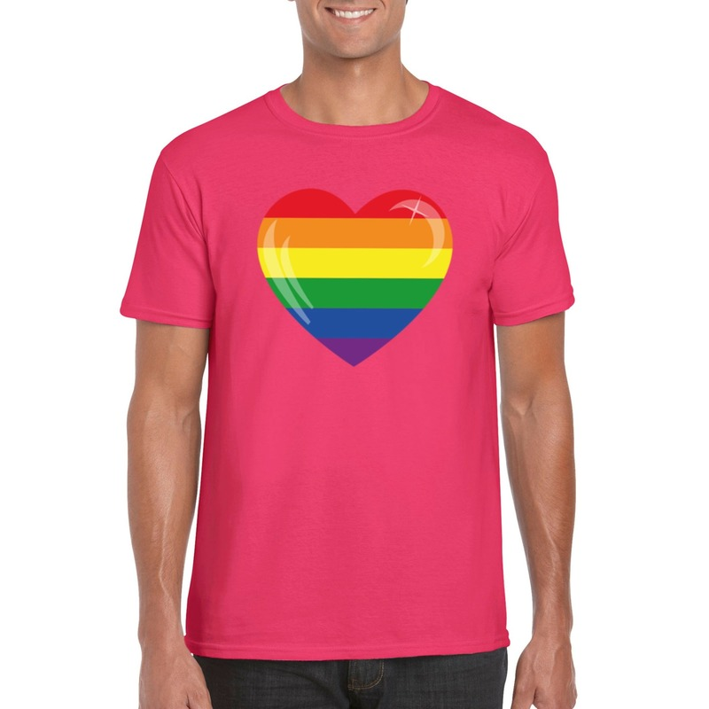 T-shirt met Regenboog vlag in hart roze heren