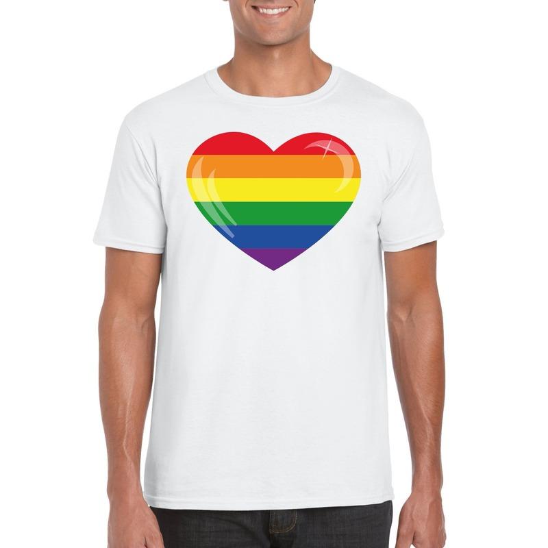 T-shirt met Regenboog vlag in hart wit heren