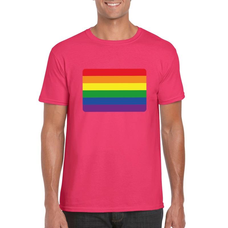 T-shirt met Regenboog vlag roze heren