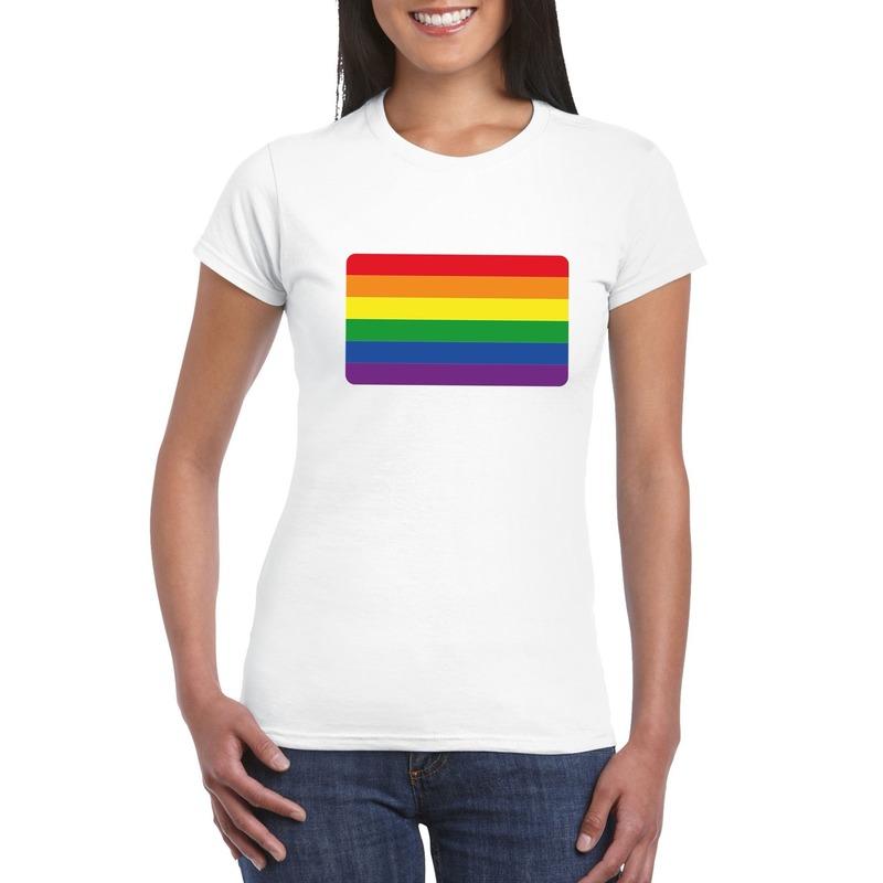 T-shirt met Regenboog vlag wit dames