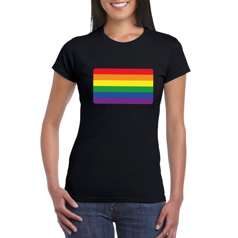 T-shirt met Regenboog vlag zwart dames