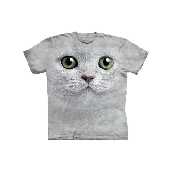 T-shirt witte kat met groene ogen
