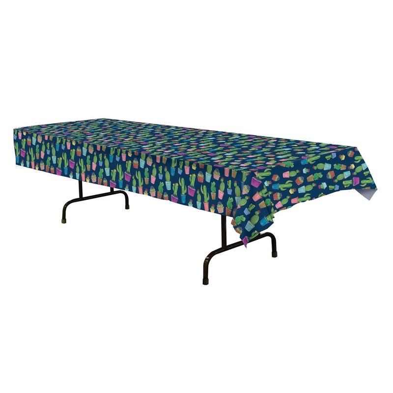 Tafellaken/tafelkleed blauw met cactusprint 137 x 274 cm