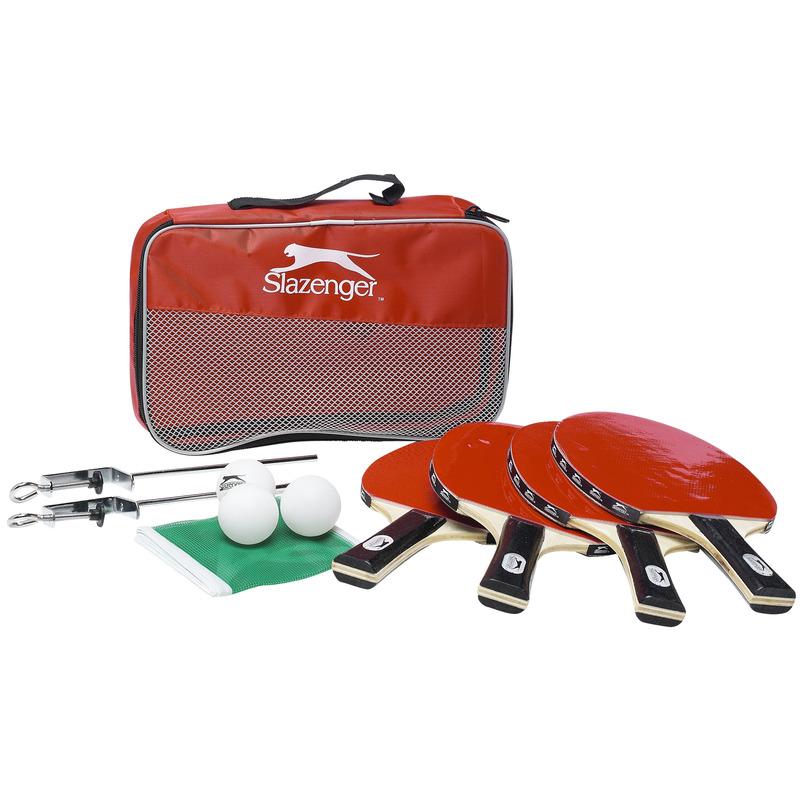 Tafeltennis/Ping Pong set met 4 batjes/4 ballen/1 net in tas