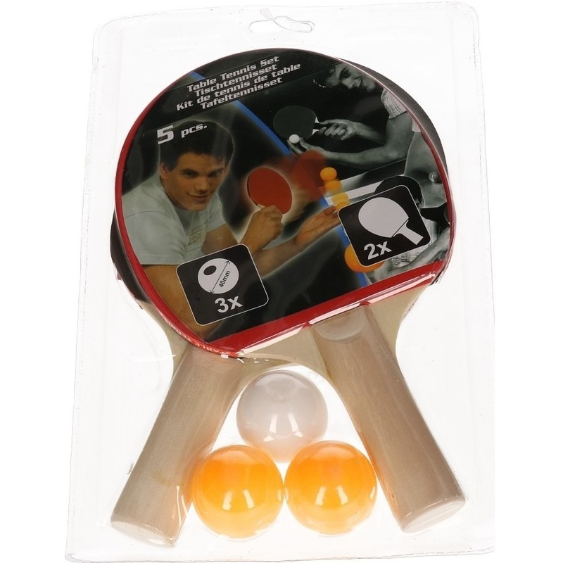 Tafeltennis set - 2 batjes en tafeltennisballetjes