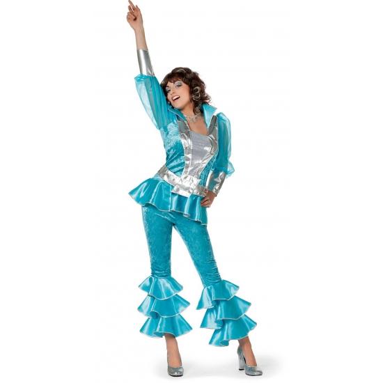 Toppers - Blauw disco kostuum voor dames