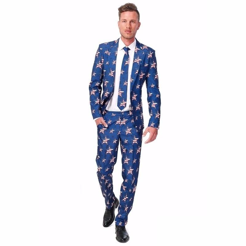 Toppers - Heren pak met Amerikaanse vlag print