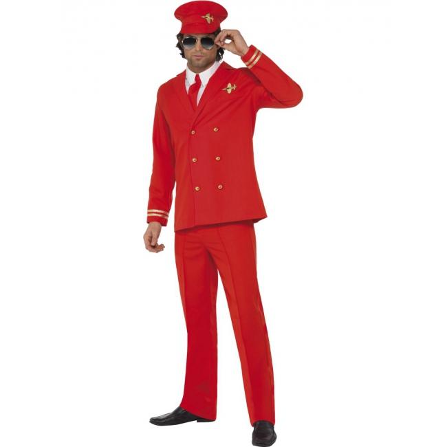 Toppers - Rood piloten kostuum voor heren