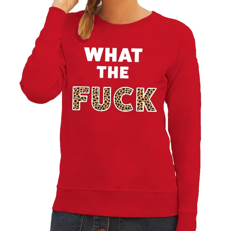 Toppers What the Fuck tijger print tekst sweater rood voor dames