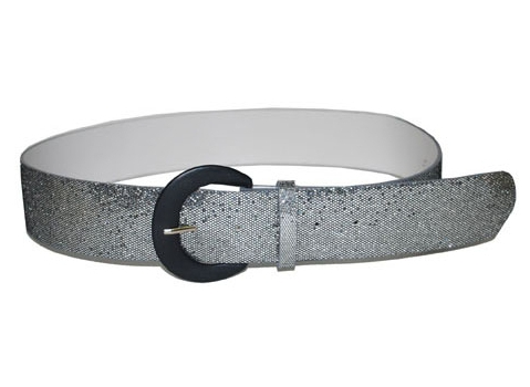 Toppers - Zilveren glitter riem 110 cm