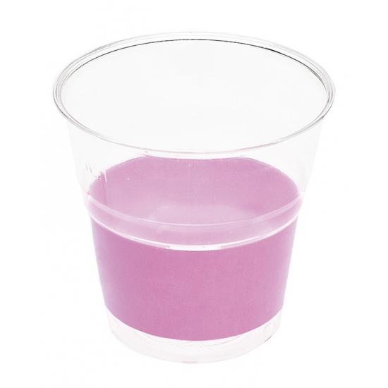 Transparante bekers met lila paarse rand