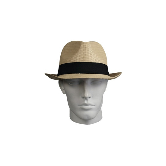Trilby hoed naturel met zwarte band