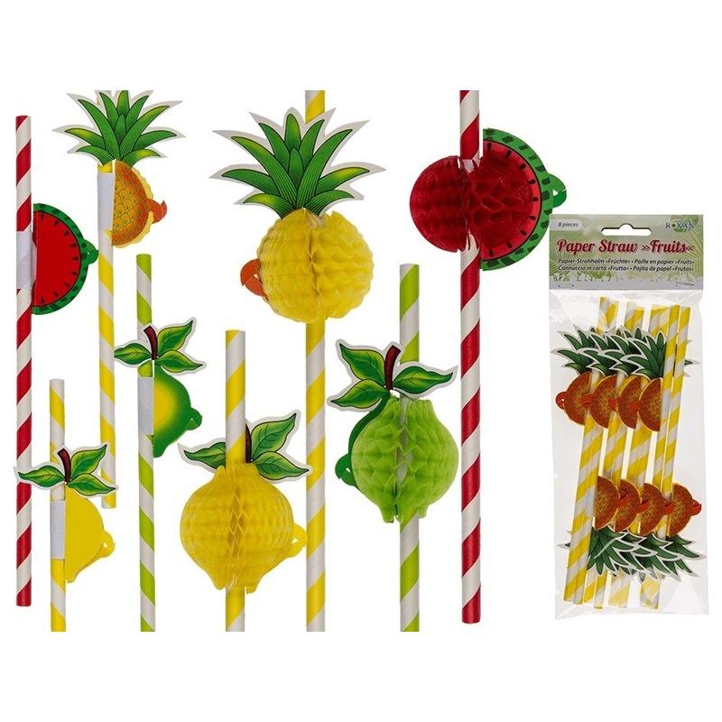 Tropische fruit rietjes 8 stuks