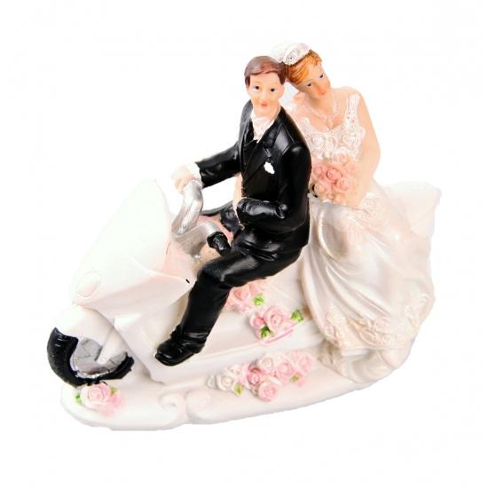 Trouwfiguurtje bruidspaar op motor A