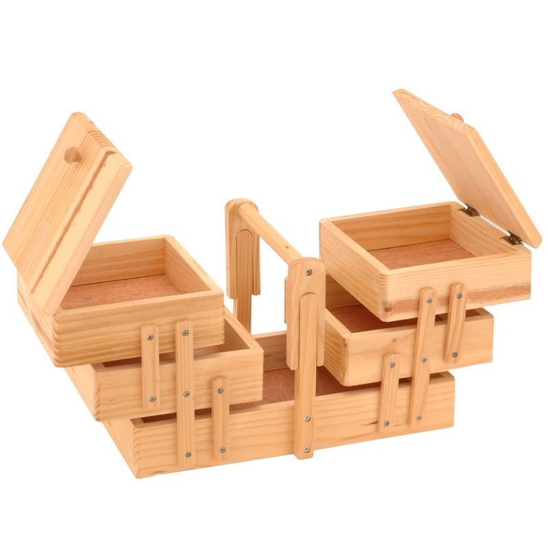 Uitklapbare houten naaikist met handgreep