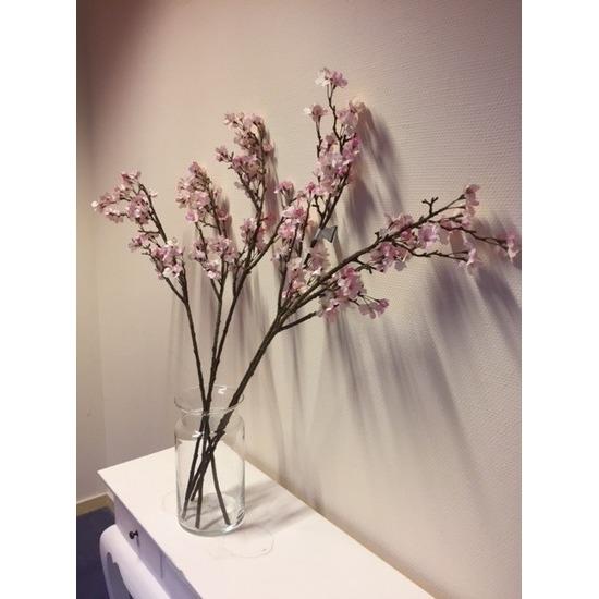 Vaas met 5 roze appelbloesem kunstbloemen takken 104 cm