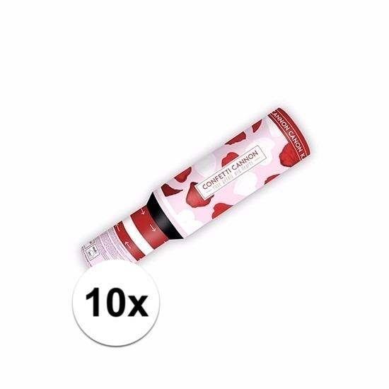 Valentijn - 10x Confetti kanon hartjes en rozenblaadjes