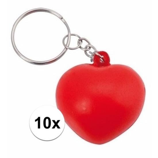 Valentijn - 10x Stressbal sleutelhanger hartje 3,6 cm