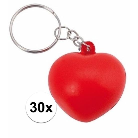 Valentijn - 30x Stressbal sleutelhanger hartje 3,6 cm
