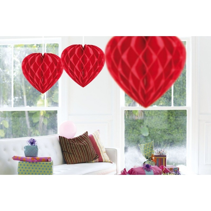 Valentijn - 3x Hangende hartjes deco bollen rood 30 cm