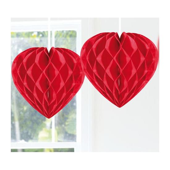 Valentijn - Hangdecoratie hart rood 30 cm