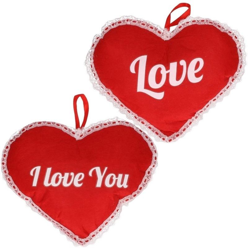 Valentijn set twee harten hangdecoratie 21 x 27 cm