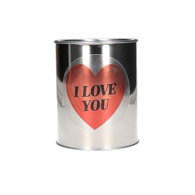 Valentijnscadeau blik met hartjessticker
