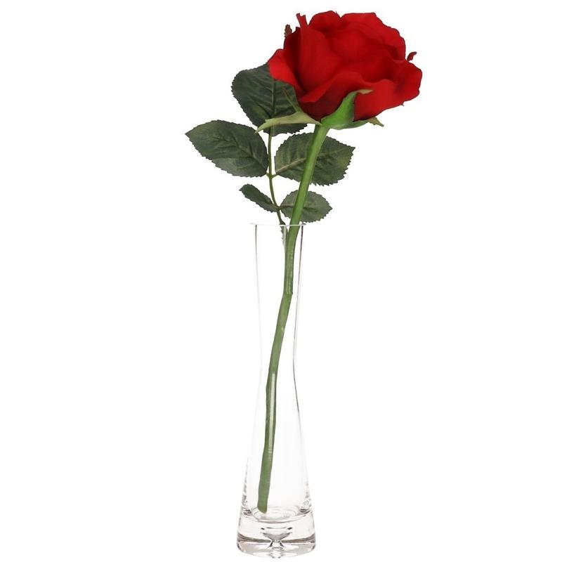 Valentijnscadeau rode roos 30 cm in smalle vaas