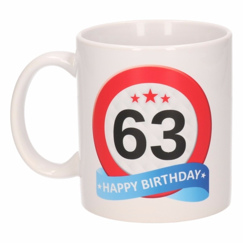 Verjaardag 63 jaar verkeersbord mok - beker
