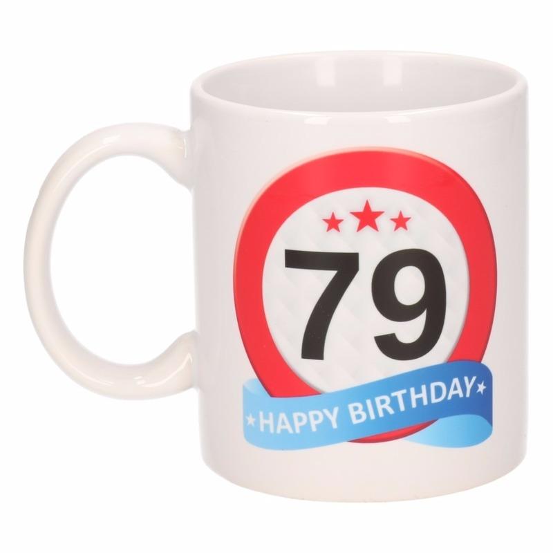 Verjaardag 79 jaar verkeersbord mok - beker