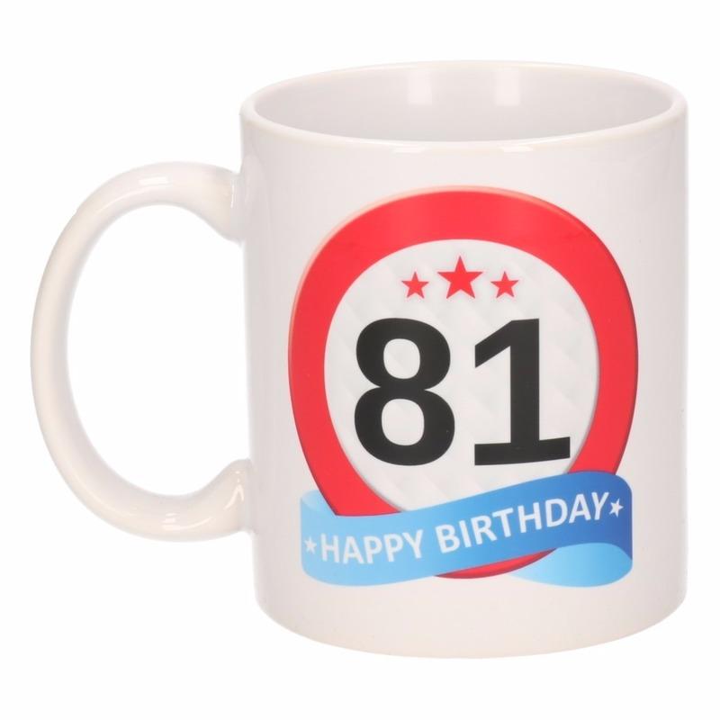 Verjaardag 81 jaar verkeersbord mok - beker