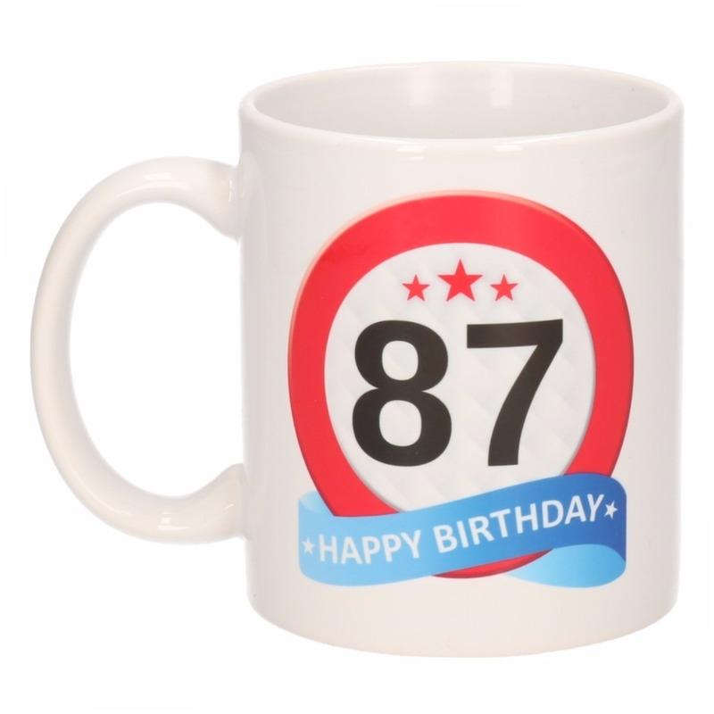 Verjaardag 87 jaar verkeersbord mok - beker