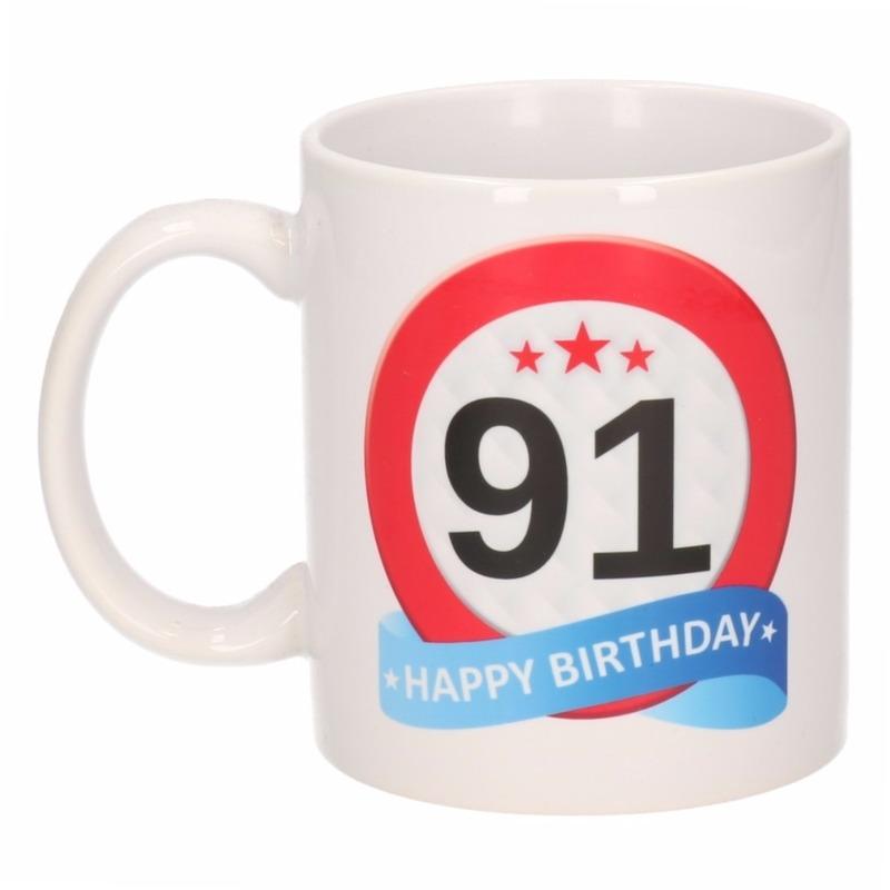 Verjaardag 91 jaar verkeersbord mok - beker