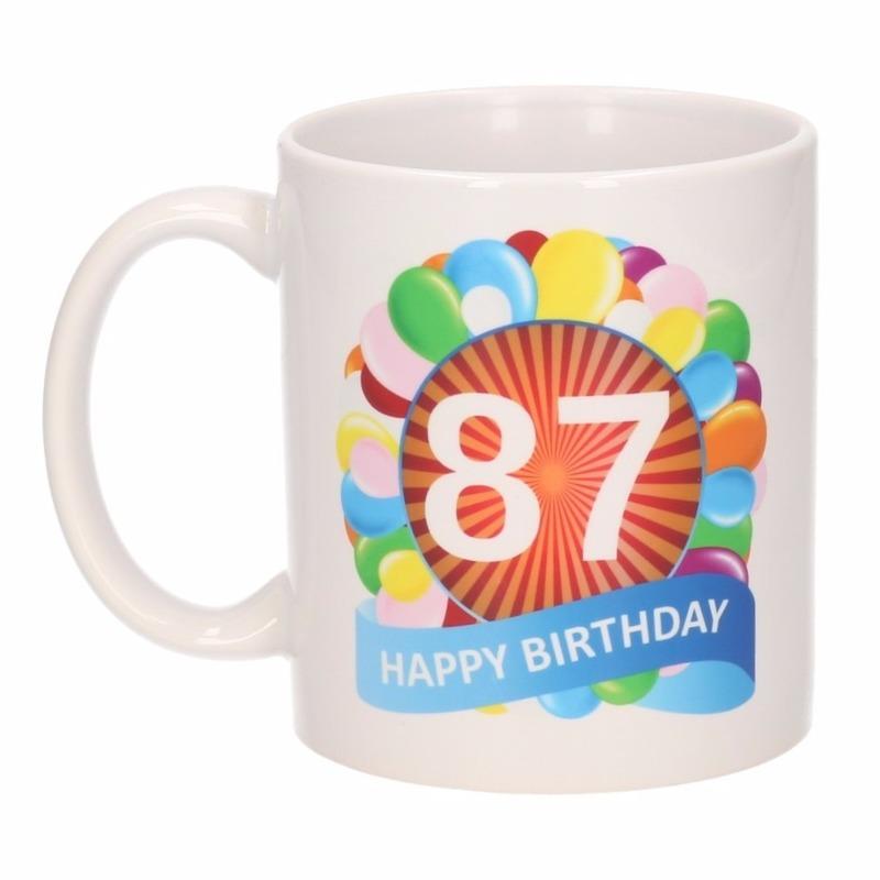 Verjaardag ballonnen mok / beker 87 jaar