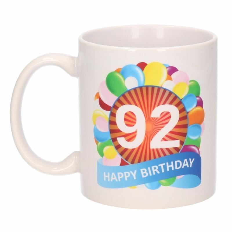 Verjaardag ballonnen mok / beker 92 jaar