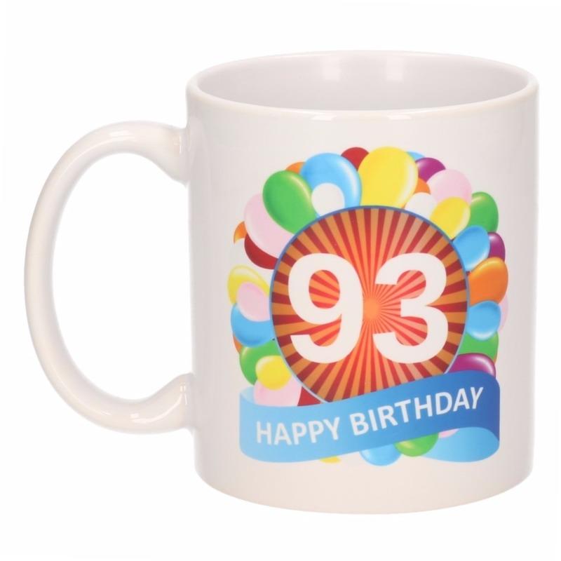 Verjaardag ballonnen mok / beker 93 jaar