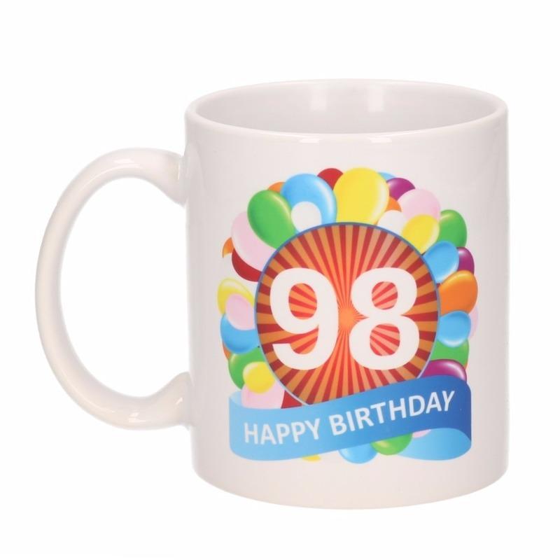 Verjaardag ballonnen mok / beker 98 jaar