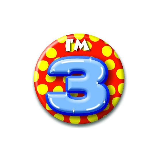Verjaardags button I am 3