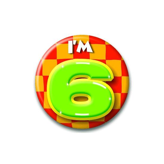 Verjaardags button I am 6