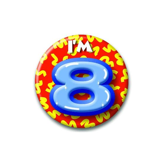 Verjaardags button I am 8