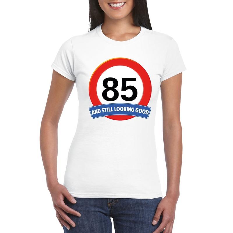 Verkeersbord 85 jaar t-shirt wit dames